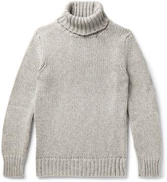 Incotex Slim-Fit Herringbone Melange Wool And Yak-Blend Rollneck Sweater