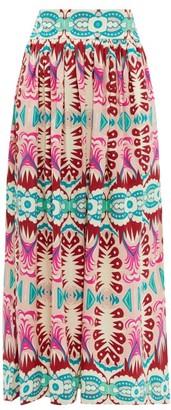 Le Sirenuse Le Sirenuse, Positano - Jane Fishtail-print Cotton Midi Skirt - Womens - Pink Print