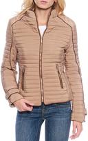 Taupe Contrast-Trim Zip-Up Puffer Coat