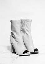 Missy Empire Priscilla Grey Patent Open Toe Heel Boots