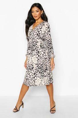 boohoo Leopard Wrap Midi Dress