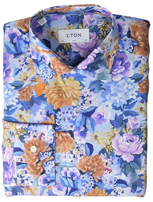 Eton Slim Fit Watercolor Floral Button-Down (Blue/Multicolor) Men's Clothing