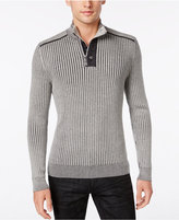 INC International Concepts Men's Quarter-Zip & Button Ribbed Sweater, Only at Macy's