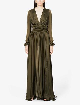 Alexandre Vauthier V-neck silk-satin gown