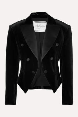 Redemption Spencer Cropped Satin-trimmed Velvet Blazer - Black