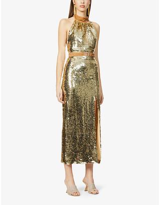 HARMUR The Goddess sequin-embellished silk-blend midi dress