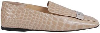 Sergio Rossi Logo Plaque Embossed Loafers