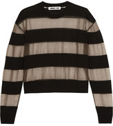 McQ by Alexander McQueen Tulle And Wool-blend Top - Black