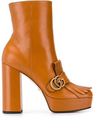 Gucci fringe platform ankle boots