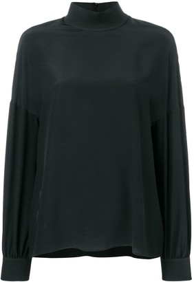 Fendi FF logo trim silk shirt