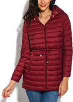 Red Down Long Narrow-Section Puffer Jacket