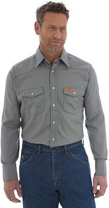 Wrangler Flame Resistant Snap Long Sleeve Lightweight Work Shirt (Charcoal) Men's Clothing