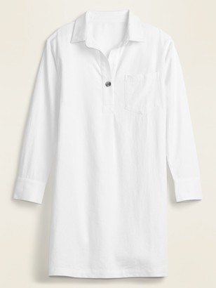 Old Navy Linen-Blend Popover Shirt Dress for Women