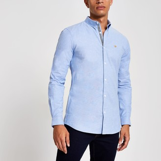 River Island Mens Blue embroidered slim fit Oxford shirt