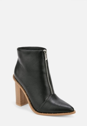 Missguided Black Faux Leather Zip Heeled Ankle Boots