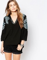 Deby Debo Musset V Neck Top with Floral Embroidery
