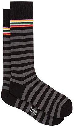 Paul Smith Two Stripe Multi Top Sock (Navy) Men's Crew Cut Socks Shoes