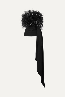 Oscar de la Renta Strapless Draped Feather-embellished Tulle And Ruched Wool-blend Top - Black