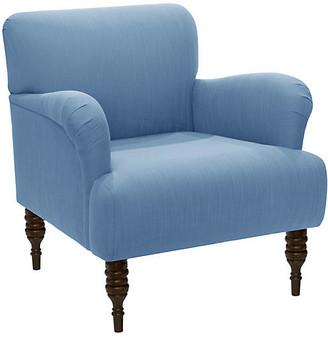 One Kings Lane Nicolette Club Chair - Blue Linen