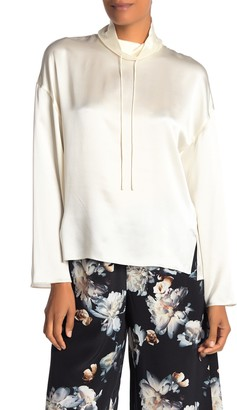 Vince Drawstring Collar Silk Blouse