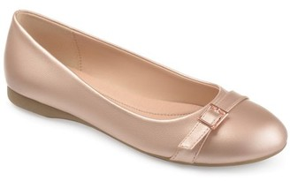 Brinley Co. Womens Faux Leather Buckle Detail Comfort-sole Flats