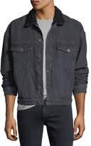 Hudson Shearling-Trim Denim Trucker Jacket