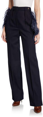 Cédric Charlier Feather-Trim Wool Trousers