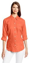 Foxcroft Women's Solid Linen Blouse with Topstitch Detail