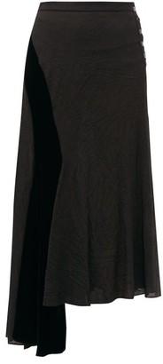 Loewe Velvet-panel Asymmetric Crinkled Skirt - Womens - Black