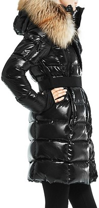 SAM. Infinity Fox Fur-Trim Belted Down Puffer Coat