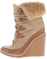 Chloé Fur-Trimmed Wedge Boots