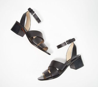 Marc Fisher Leather Block Heeled Sandals - Omela