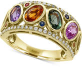 Effy Watercolors Multi-Sapphire (3-1/2 ct. t.w.) and Diamond (1/5 ct. t.w.) Ring in 14k Gold, Created for Macy's
