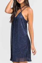 Lush Clothing Pleated Metallic Dress