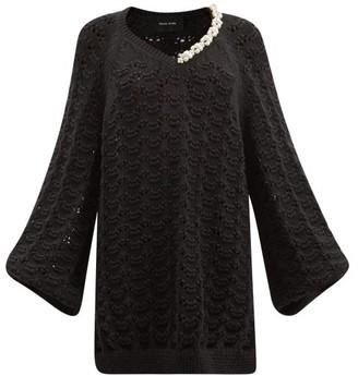 Simone Rocha Pearl-embellished Pointelle Organic-cotton Sweater - Black