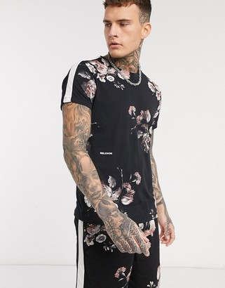 Religion all over floral print t-shirt with side stripe details in black