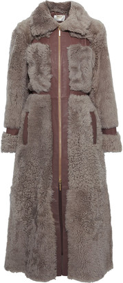 Zimmermann Tempest Leather-trimmed Shearling Coat