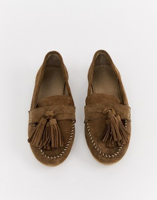 Asos DESIGN Marco leather moccasin flat shoes