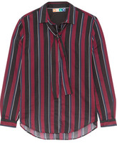 MSGM Pussy-Bow Striped Cotton And Silk-Blend Voile Shirt