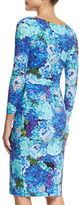La Petite Robe di Chiara Boni 3/4-Sleeve Ruched Floral Cocktail Dress, Winter Blossom Blue