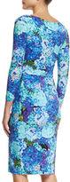 La Petite Robe di Chiara Boni 3/4-Sleeve Ruched Floral Cocktail Dress