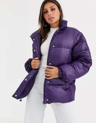Asos Design DESIGN puffer jacket with detachable sleeves in purple