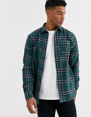 Jack and Jones Originals brushed cotton check shirt in green