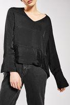 Boutique Dropped hem jacquard blouse