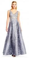 Aidan Mattox Embroidered Box Pleated Brocade A-line Evening Dress