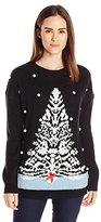 Notations Women's White Christmas Tree Ugly Christmas Sweater with 3d Snow