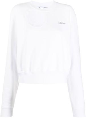 Off-White Cropped Cutout Sweatshirt