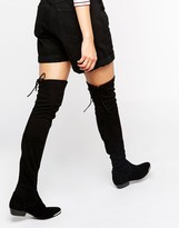Office Hideout Tipped Stretch Suede Flat Over The Knee Boots