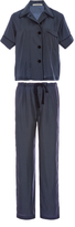 Araks Navy Silk Polka Dot Pajama Set