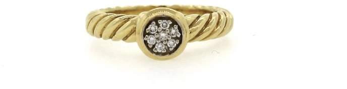 David Yurman 18K Yellow Gold Round Diamond Stacking Ring